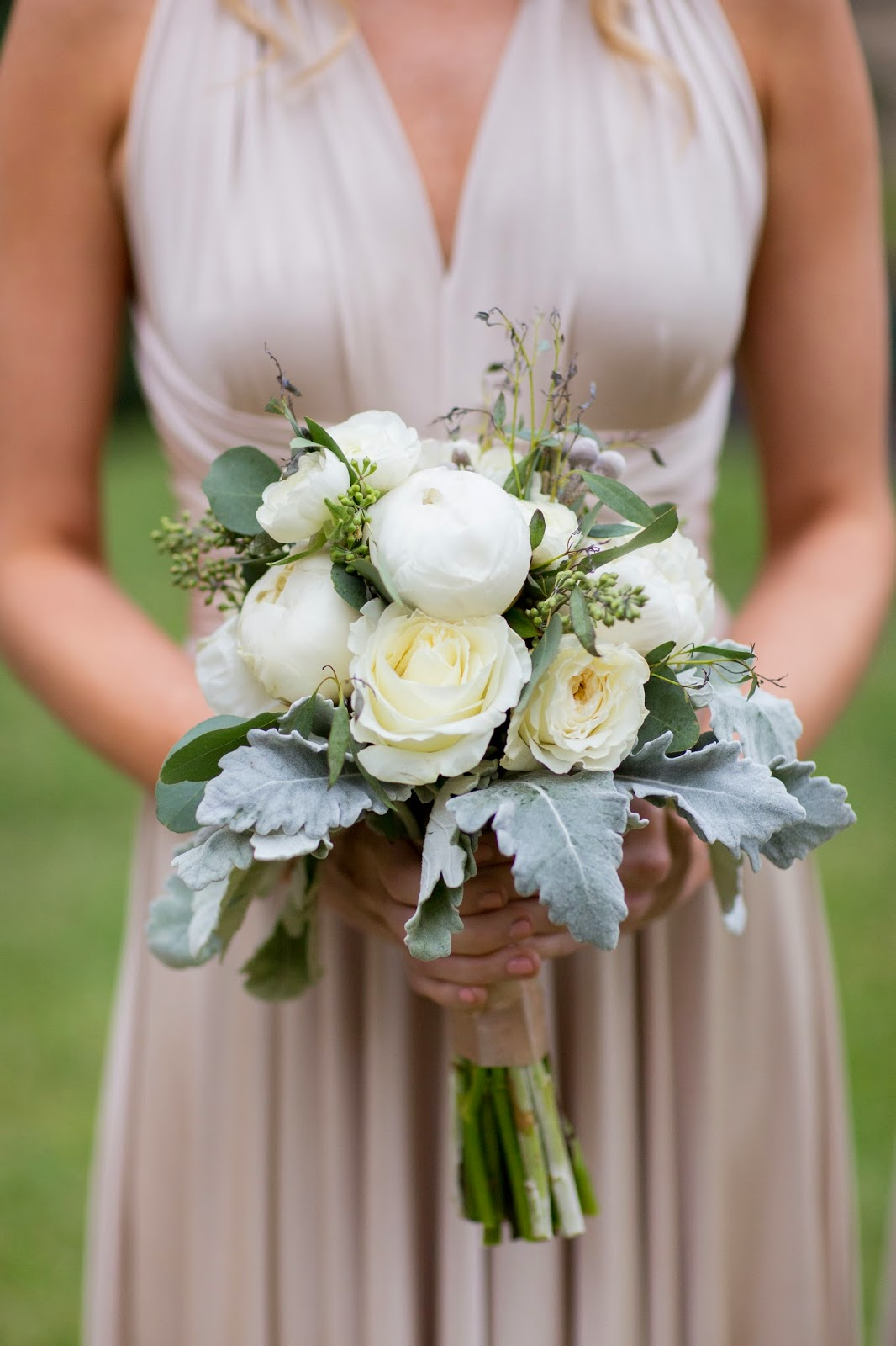 Bridal Boquet with dusty mller