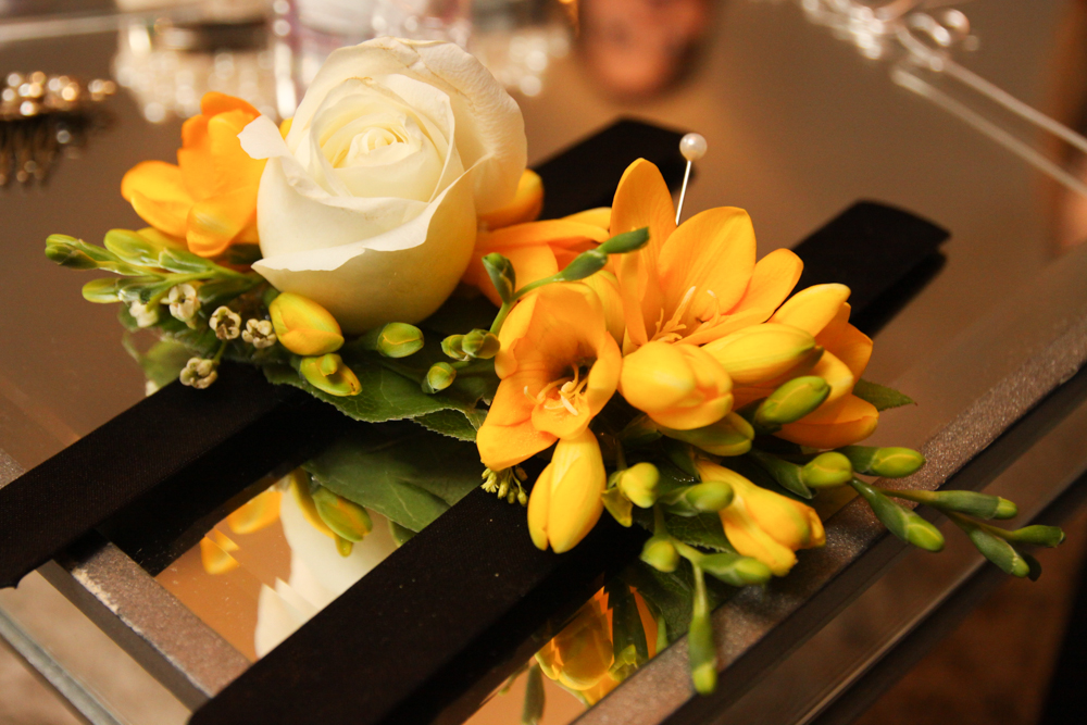 Orange Freesia Wrist Corsage