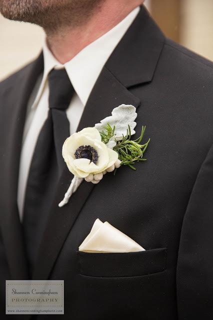 white anemone boutonniere
