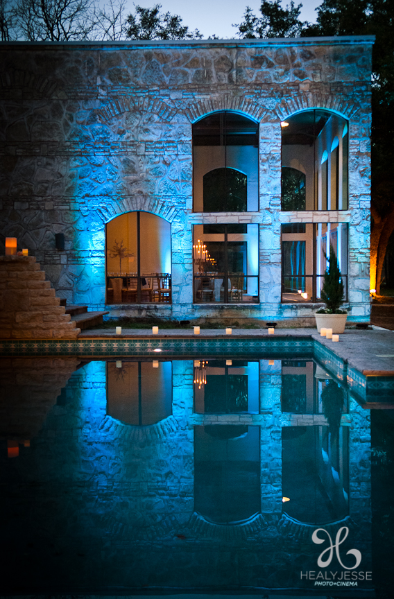 Blue Exterior Uplighting at Blue Rock Estate